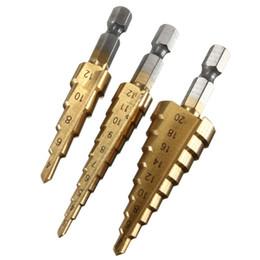 Wholesale High Speed Steel Drill Bits - 3PCS in 1 3-12mm 4-12mm 4-20mm Titanium Step Drill Bits HSS Power Drills Tools