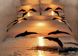Wholesale Dolphin 3d Bedding Set - 2016 New Arrival Animal 3D Bedding Sets Strong and Vigorous Dolphin in the Golden Sunset 4 Pieces 100% Cotton Bedding Sets Free Shipping