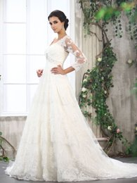 Wholesale Beautiful Fantastic - fantastic beautiful 2017 lace v-neck 3 4 long sleeves wedding dresses beading a-line bridal gowns with appliques