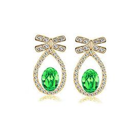 Wholesale Wholesale Gold Jewelry Online - Fashion Water Drop Stud Earrings Austria Crystal Elegant Earrings Jewelry 18KGP Green Jewery For Women Wholesales Online 8224