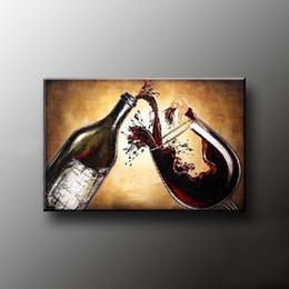 Malerei esszimmer online-Meisterqualität handgemalte Esszimmer Ölgemälde Wein Malerei Leben Leinwandbilder an der Wand Küche DEKORATION GESCHENK T1P80