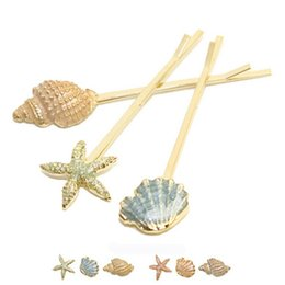 Wholesale Starfish Hair Jewelry - Cute Starfish Shell Conch Hair Accessories Womens Fashion Gold Color Hair Clip Wedding Party Hair Jewelry 3pcs set K044