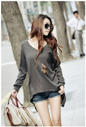 Wholesale Asymmetric Hem Casual Blouse - Autunm Spring Winter Womens Fashion Loose Long Sleeve Asymmetric Hem Casual T-Shirt Long Blouse Cotton Blends Tops Size S,M,L,XL