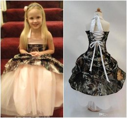 Wholesale Orange Pink Pagent Dress - 2016 Camo Flower Girl's Dresses Halter Ball Gown Dresses For Toddler Camo Wedding Party Dresses Grils Pagent Dresses BA1504