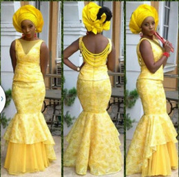 Wholesale light up clothes - 2015 Bellanaija Mermaid Style Evening Dresses Women bellanaija asoebi Fabrics Prom Dress Lace Styles Dresses Evening Party Clothing