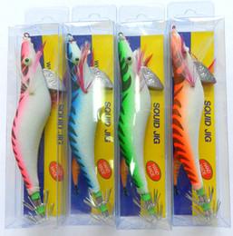 Wholesale Shrimp Hooks - HENGJIA 8pcs lot 3.5# Squid Jigs Hook 4 Color Mix 13.5CM 19.8G Fishing artificial Wood shrimp squid fishing Bait