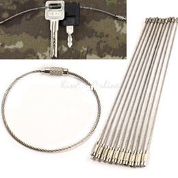 Wholesale Flag Rings - Fashion Hot Stainless Steel Wire Keychain Cable Key Ring for Outdoor Hiking