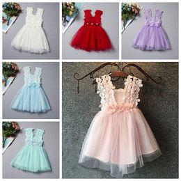 niños americanos estilo de vestir Rebajas Moda Baby Girls Lace Dress Niños Sundress Gasa Jumper Falda Europa American Children Crochet Vest Vestido 6 estilo