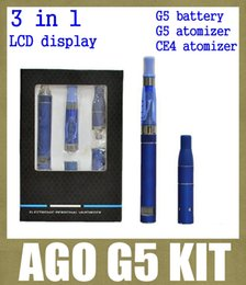 Wholesale Ago G5 Lcd - ago g5 with pen dry herb vaporizer starter kit with g5 battery lcd display g5 clearomizer ce4 starter kit 650mah 3 in 1 kit TZ020