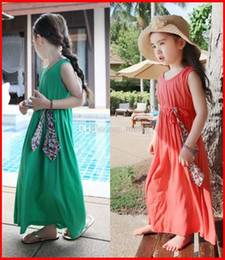 Wholesale Dress Girl Discount - 10% Discount 2015 Newest summer kids girls cotton maxi long dresses girl Children's girls pinafore dress princess Beach dress 5color choose