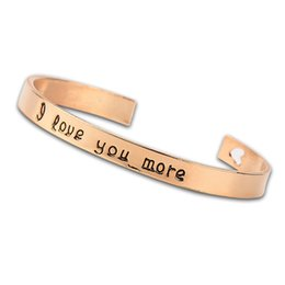Wholesale More Lasers - Charmful Stamped Saying I Love You More Cuff Bracelet With Laser Heart Elegant Bangle For Women Fashion Jewelry
