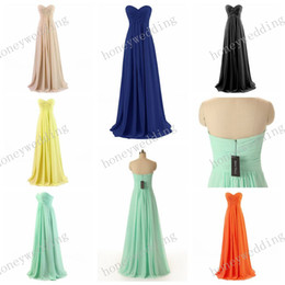 Wholesale Chiffon Sheath Sleeveless Wedding Party - Stock Sheath Chiffon Bridesmaid Dresses Cheap Sweetheart Pleated Light Royal Blue Long Prom Wedding Party Dress Bridesmaids Dress
