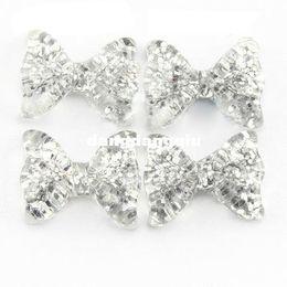 Wholesale 3d Nail Art Bows - Wholesale-100pcs 3D Silver Glitter Kawaii Resin Bow for Nail Art Decoration DIY Decoration SKU D0583X