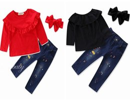 Wholesale Winter Jeans Kids - fall baby girl clothes kids boutique clothing sets girls headbands long sleeve tops ruffle tshirts jeans pants fashion childrens outfits new