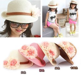 Wholesale Large Crochet Hat - Spring and summer children's large flowers straw hat sun hat sun hat female baby princess hat