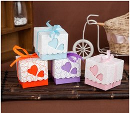 Wholesale Blue Paper Gift Box - Free shipping New Arrival heart shaped square Wedding favor candy box with ribbon purple pink orange blue candy bags party gift paper boxes