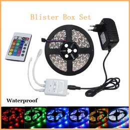Wholesale Packing Boxes Supplies - Blister Packing RGB LED Strip light 3528 SMD DC12V flexible RGB light tape 60 led m+2A Power Supply+24 Keys remote controller Box
