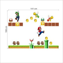 Wholesale Live Mario - 2017 New pvc Super Mario child room wall stickers for kids room boy bedroom wall decals window poster 3D wall sticker 141x101cm