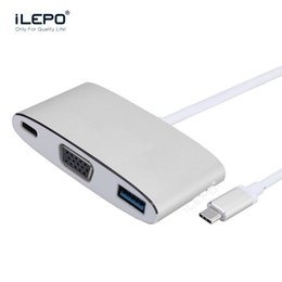 Wholesale Hub High Speed - Type C hub to VGA high Resolution USB3.0 stabilization double chip high speed 5Gbps transmission metal shell for macbook android smartphone