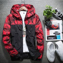 mode-uni-jacken für männer Rabatt 2018 Patchwork Camo Jacke Hohe Qualität Mit Kapuze Reißverschluss Windjacke Männer Frauen Mode Varsity Jacken Mantel Lässig NSG0903