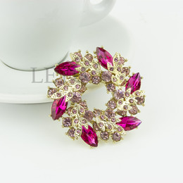 Wholesale Chinese Clip Flowers - Ladies Girls Golden Plated Flashing Rhinestones Crystals Bauhinia Flower Chinese Redbuds Brooches Corsage Pin Clips Y083