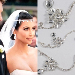 Wholesale Rhinestone Wedding Hair Pieces - 2017 New Kim Kardashian Real Images Water Drop Pendants Crystal Bridal Wedding Hair Piece Accessories Jewelry Tiara CPA318