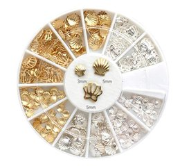 Wholesale Silver Glitter Nails - Wholesale-240 Pcs Lot Gold Silver Cameo Shell 3 Size Alloy Glitter Manicure For Charms Conch 3D Nail Art Decorations ZP184
