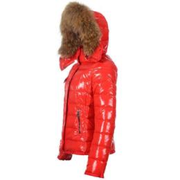 Wholesale Hooded Outerwear Women - France Luxury Brand down jacket Winter Coat Women Outerwear Down Coats Slim Parkas Jacket Raccoon Fur Collar Down Jacket Warm Winter Coats