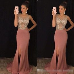 Wholesale Saudi Sexy Girls - 2017 Spark Beaded Mermaid Evening Pageant Wear Jewel Dusty Pink Split Long Saudi Arabia Cheap Formal Party Prom Gowns For Sweet Girl