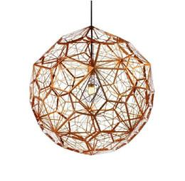 Wholesale Etch Web Pendant - Moden Tom dixon New brass Etch web pendant light Creative Diamond Pendant Lamp Hollow LED chandeliers 110V-240V
