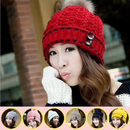 Wholesale Korean Winter Ladies Fashion Woolen - Wholesale-Fashion Korean Winter Warm Hats for Woman Button Beanies Woolen cap handmade Knitted cap For girls lady Free Ship 8color M120