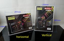 Wholesale Wholesale Acrylic Business Card Holders - 210*297mm Horizontal   Vertical L Shaped Advertising Display Acrylic Business Sign Holder Board Menu Display for Hotel Bar Table Card Holder