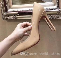 Chaussures à talons eu34 en Ligne-Top qualité femmes chaussures fond rouge nouveau style populaire talons hauts chaussures 8cm 10cm 12cm femmes pompes top qualité en cuir eu34-42 grande taille