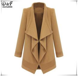 Wholesale Camel Winter - Wholesale-Winter Woman Roupas Femininas Casual Fashion Designer Clothes Female Autumn Camel Lapel Long Sleeve Belt Woolen Coat