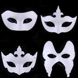 Wholesale Half Mask Butterfly - Cheap DIY Painting white Paper Masks Venetian Party Masquerade Masks Kids Fashion Half Paper Masks halloween butterfly mask