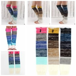 Wholesale Womens Winter Warm Leggings - Christmas Gift womens boot socks leg warmer button winter Leggings Warm up knitted boot foot cover knee high Cuff Socks KKA3266
