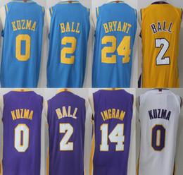 Wholesale Blue Balls Xl - Mens 2017-18 New season jerseys 24 Kobe Bryant 0 Kyle Kuzma 2 Lonzo Ball 14 Brandon Ingram 100% Stitched Lakers jersey Free shipping