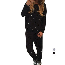 Wholesale Loose Yoga Tops - S5Q Women Loose Tracksuits Sport Suit Long Sleeve Beading Hoodies Tops and Pants AAAFQT