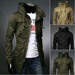 Wholesale Men Outdoor Trench Coat - Fall-New 2015 Autumn Winter High quality Fashion Mens Trench coat XXXL Men long coat Winter Jacket Man long coat Outdoor Overcoat