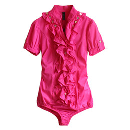 Blusas de la blusa formal online-Nuevas llegadas Mujeres Body Blusa Camisa Ruffles de manga corta Blusas Tops elegantes Blusas mujer Túnica Feminina Blusa Plus Size # B38