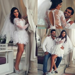 Wholesale Bridal White Short Mini Dress - Arabic Middle East 2016 A Line Sheer Lace Long Sleeves Wedding Dress Sheer Tulle Crew Neck Applique Short Mini Bridal Gowns