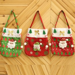 Wholesale Gift Candy Cartoon Bags - Christmas gift bag 2017 hot creative hi-decals portable candy bag Christmas fabric red bag free shipping
