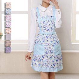 Wholesale Dress Bibs - Wholesales Hot Women Cooking Bib Apron Thicken Printing Princess Cooking Apron Dress with Pocket Ladies Apron JE0155