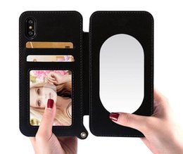 Wholesale Making Lanyard - Lady make up Wallet Mirror Case For iPhone 7 Woman Bags Card Slot with Lanyard cover for iPhone7 Plus