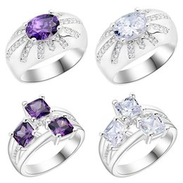 Wholesale Wholesale Lucky Ring Stone - Lucky Shine big Stones Ring Florid Amethyst Crystal 925 Sterling Silver Plated Rings Russia American Australia Wedding Rings