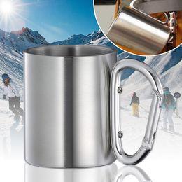 Wholesale Stainless Steel Carabiner Mug - 220ml Stainless Steel Portable Mug Double Walls Travel Tumbler Coffee Milk Mug Tea Cup With Outdoor Camping Carabiner Hook