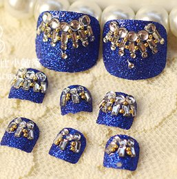 Wholesale Toe Nail Art Accessories - Wholesale-Free Shipping 24 piece box 3D Toes Nail Stickers Rhinestones Toe False Nail Tips Acrylic Art Decals Decoration Accessories J49