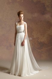 Wholesale Goddess Dress Sale - Vestidos 2015 Hot Sale Greek Goddess A Line Sash Detachable Straps Chiffon Beach Wedding Dresses Simple Wedding Dresses Cheap Beach Bridal