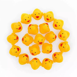 Wholesale Toy Animal Racing - Cute Baby rattle Bath toy Squeeze animal Rubber toy duck BB Bathing water toy Race Squeaky Yellow Duck Classic Toys Reborn gift