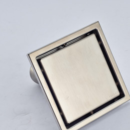 Wholesale Brushed Nickel Kitchen - Wholesale And Retail Free Shipping Bathroom Floor Drain Square Stainless Steel Kitchen Room Grate Waste Shower Deodorant Sealing